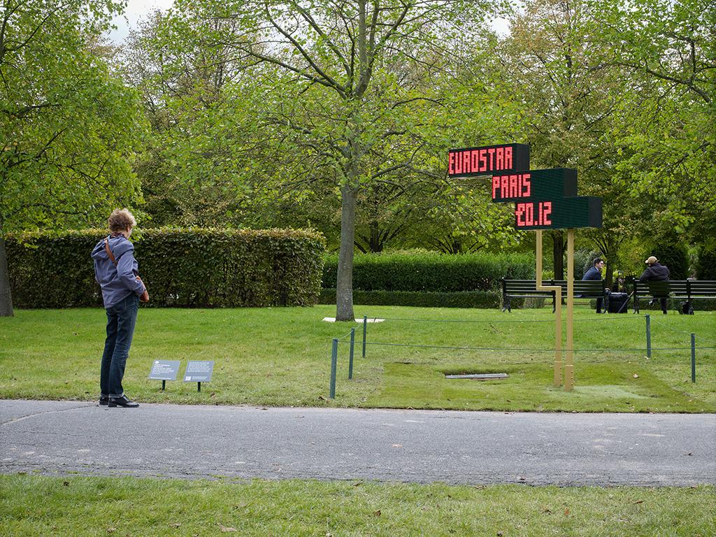 Ad Keywords, by Fabio Lattanzi Antinori, installation shot at the Frieze Sculpture Park 2020, Regents Park London